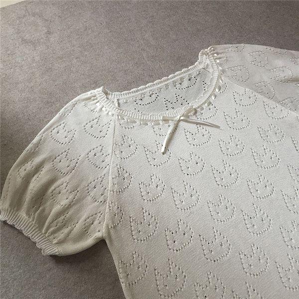 2017 sommer harajuku lolita süß kawaii niedlich prinzessin bogen katze hohl weiß t-shirt stricken hauchhülse pullover top t-shirt