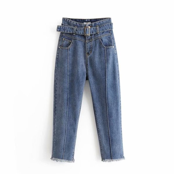 wholesale High Waist Jeans for Women Cotton Denim Pants Mom Jean 2018 Fashion Trousers For Women Blue