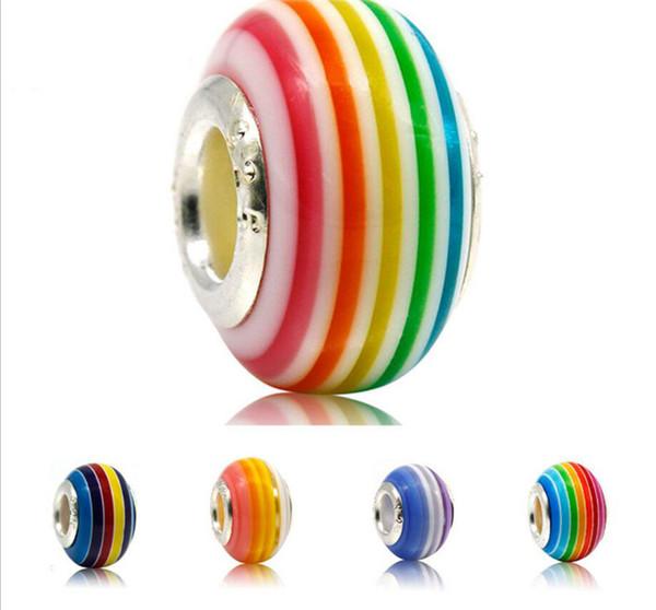 DIY Murano Glass Lampwork Beads Big Hole Rainbow Stripes Silver Core Loose Beads for Pandora European Charm Bracelets TO656