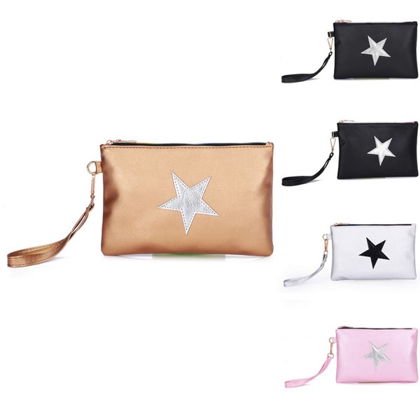 Maison Fabre Women Fashion Leather Star Pattern Zipper Clutch Bag Coin Bag Makeup Pouch Simple Wild Zipper Au10