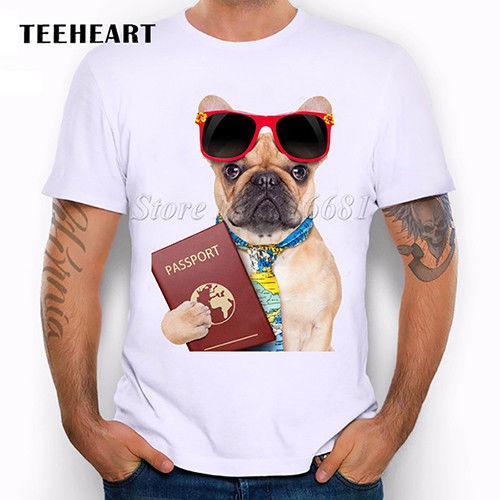 Cute French Bulldog Animal Dog Having fun Glasses Funny Joke Men T Shirt Tee