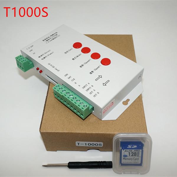 Spedizione gratuita T1000S SD Card WS2801 WS2811 WS2812B LPD6803 ecc. LED 2048 Pixel Controller DC5 ~ 24V T-1000S DMX 512 RGB Controller