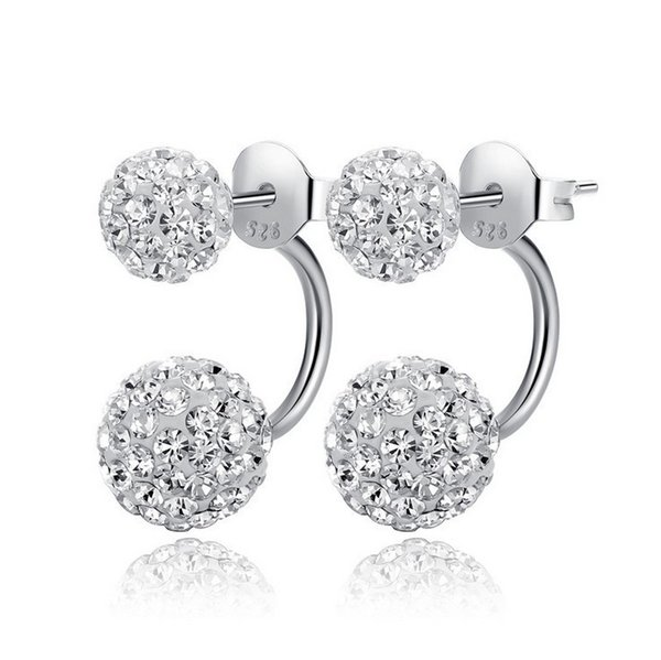 Fate love Wild trend 925 Sterling Silver women's Xiang Ba La Earrings inlaid crystal The best choice for Valentine's Day