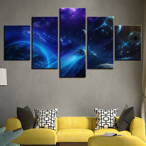 Modular HD Prints Paintings Wall Art 5 Pieces Universe Planets Abstract Scenery Canvas Pictures Modern Living Room Decor Posters