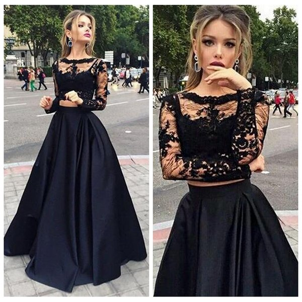 Elegante joya sin mangas Dos piezas Vestidos de noche Una línea Satin Robe de Soiree Negro Vestido de fiesta formal formal