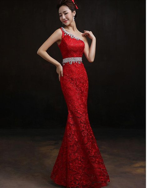 Beautiful one shoulder lace evening dress prom gown size 2 4 6 8 in stock 180