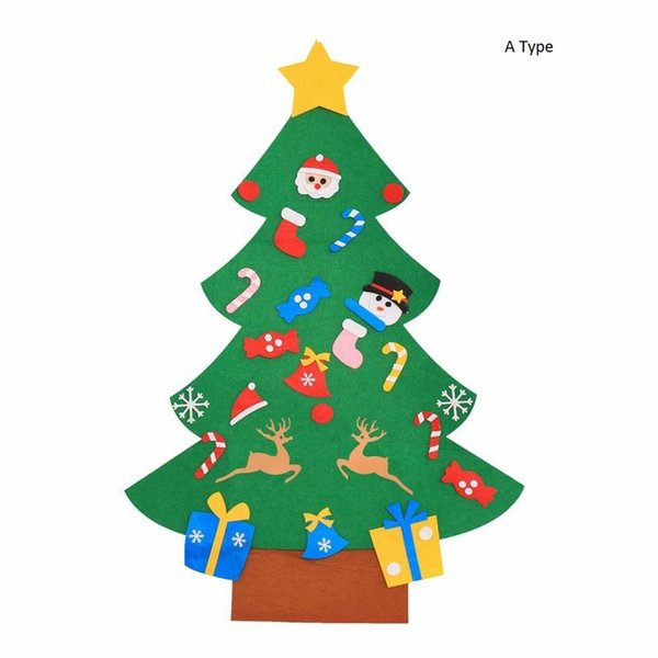 Kids DIY Felt Christmas Tree with Ornaments Children Christmas Gifts for 2018 New Year Door Wall Home Hanging Xmas Decoration