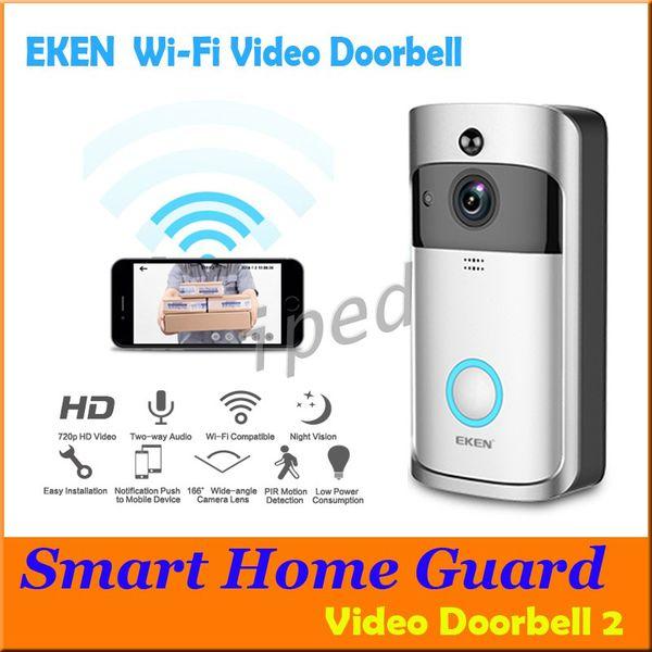 top popular EKEN Smart Wireless Video Doorbell 720P HD Wifi Security Camera Real Time Two Way Talk and Video APP Control PIR Intercom With retail box 2021