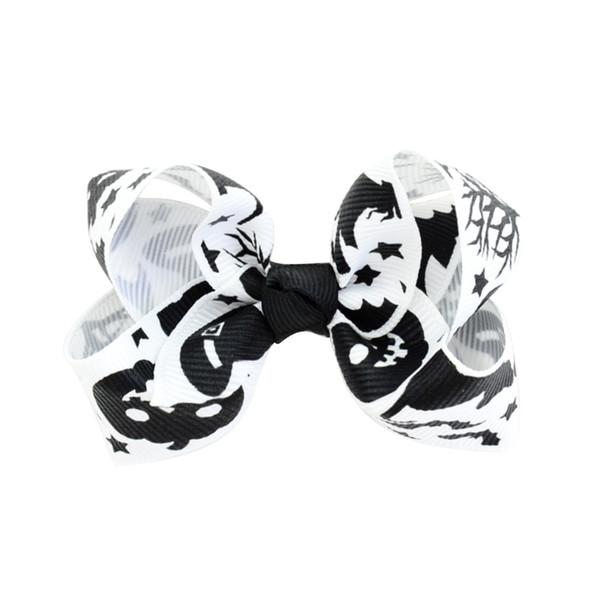 12pcs 3.15 inch Halloween Grosgrain Ribbon Bows With Clip Ghost Pumpkin Pinwheel Hair Clips Hair Pin Accessories HD751