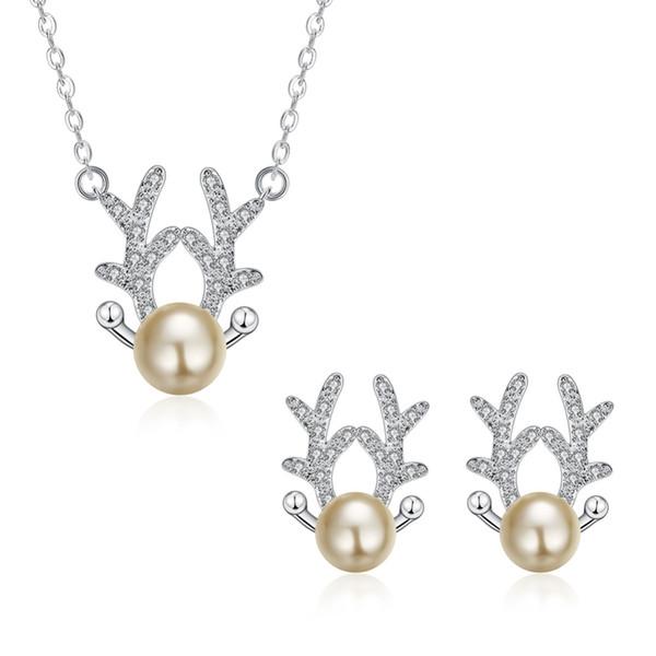 Jemmin Sevimli Geyik Antlers Champagne İnci 925 gümüş küpe Salkım Gelin Takı Kadınlar Gelinlik Aksesuar Set
