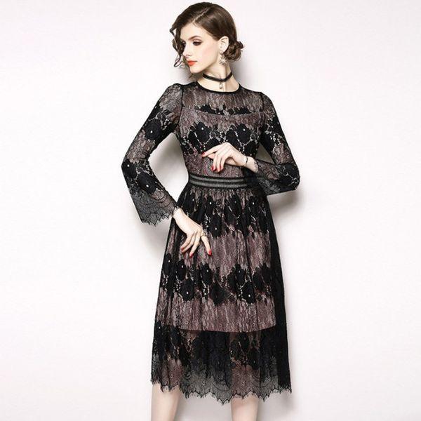 Women Vintage Lace Dresses Party Banquet Prom Gowns Elegant Flare Sleeve Fashion Little Black Dress Autumn