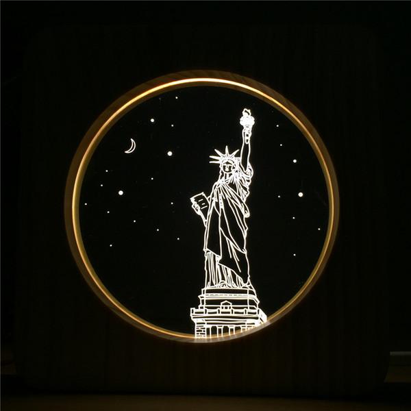 Novedad Liberty Night Light LED USB Lámpara de mesa de madera Interruptor de botón Night Night Bedside Decoración Lámpara LED Regalo creativo