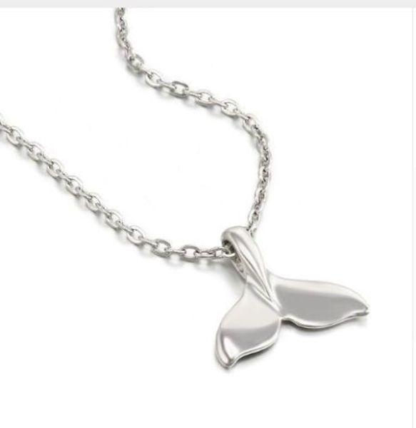 20 pçs / lote Moda Colar de Prata Antigo Baleia Cauda Peixe Encantos Pingente Cadeia Camisola Colar de Jóias Presente 60 cm