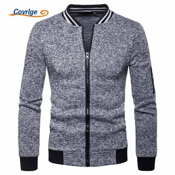 Covrlge Autumn Cardigan Solid Men Hoodies Basic Style O-neck Long Sleece Zipper Casual Sweat Homme Men Hoodie Sweatshirt MWW135