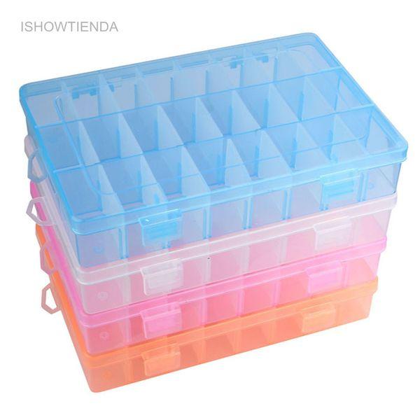 ISHOWTIENDA 1 PC Réglable 24 Compartiment En Plastique Transparent Boîte De Rangement Bijoux Boucle D'oreille Cas Petits Objets Caja De Almacenaje