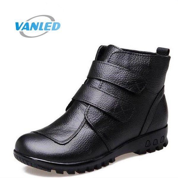 Plus Size 2017 new Genuine Leather boots winter shoes middle-aged mom shoes women shoes boots ankle wedge warm snow boots shoes