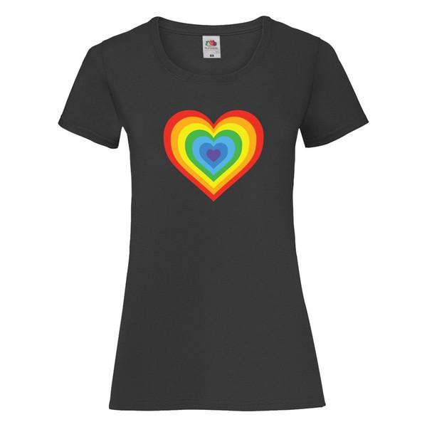 Coração múltiplo Rainbow T Shirt T Top Das Senhoras Das Mulheres Ladyfit Unisex LGBT PrideMen T-Shirts Verão Estilo Moda Ganhos Dos Homens