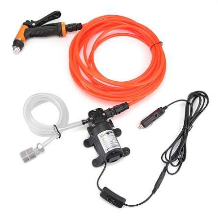Car Washer Pump Kit 80W 130PSI High Pressure Washing Power Pump System Kit for Auto Marine Pet Window Air Conditioner Cleaning