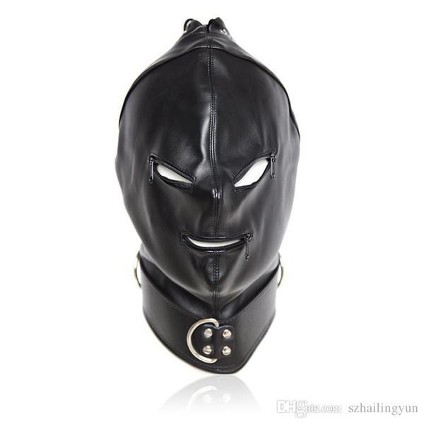 Female Sex Bondage Fetish Leather Slave Hood with Zippered Eyes and Mouth Restraint Submission Training Costume Black