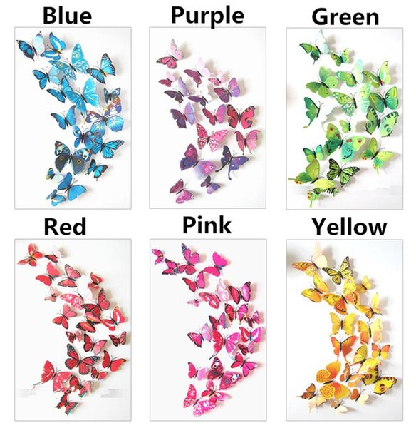 3D Butterfly wall stickers home decor Sticker on the Art Wall decal Mural for vintage Home appliances kids rooms 12pcs/bag