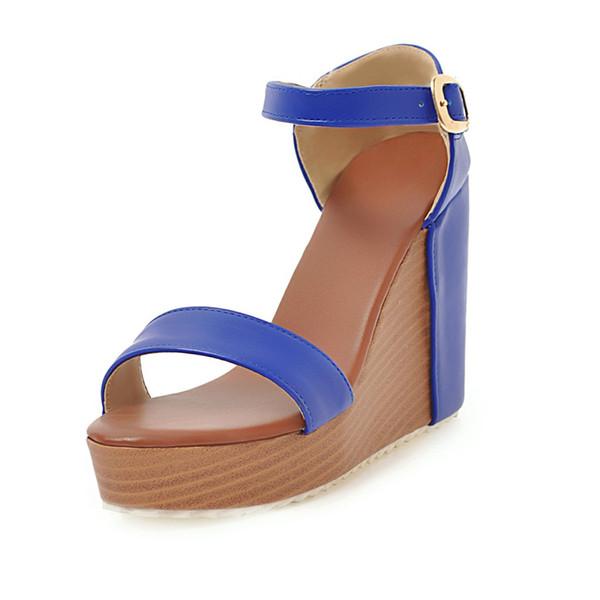 Vendita diretta in fabbrica estate spessore fondo pino torta bump colore tempo libero pendenza tallone open toe sandali studente LD5088-3