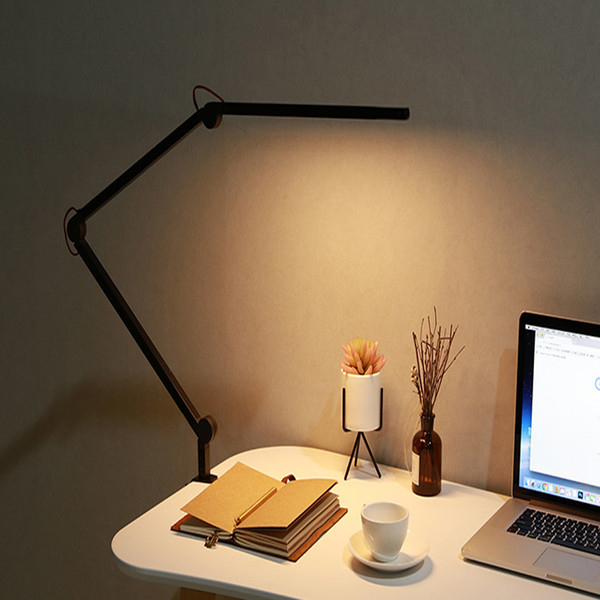 VUSUM three-section stepless dimming Desk Lamps Led long arm table lamp eye clip light desk computer office reading Lamp