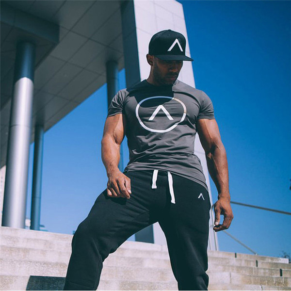 Mens Summer T Shirt Gyms Fitness Brand T -Shirt Crossfit Bodybuilding Slim Shirts Printed O -Neck Short Sleeves Cotton Tee Tops Clothing