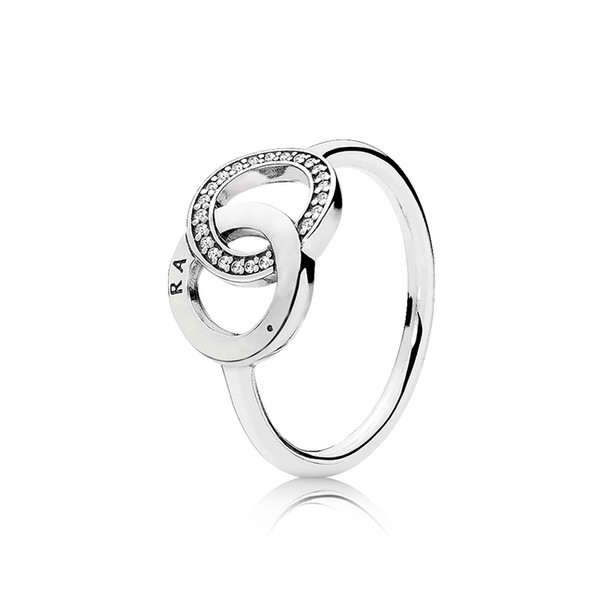 Womens Luxury Fashion Doppelschleife CZ Diamant Kreis Ringe Original Box für Pandora 925 Sterling Silber Ehering