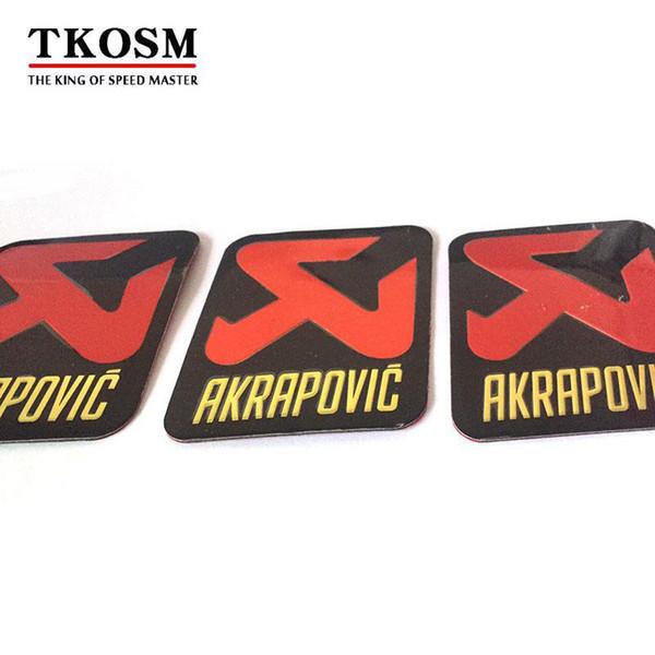 TKOSM 3 teile / los Universal 70X85mm Aluminium 3D Label Aufkleber Akrapovic Auspuff Schalldämpfer Aufkleber Schalldämpfer Aufkleber Für Motorrad