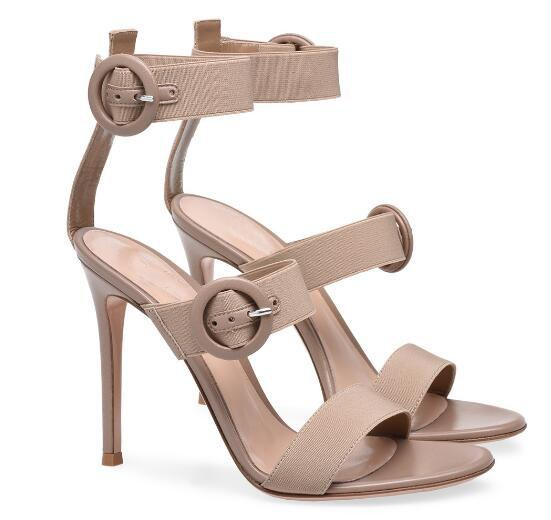Hot selling!Woman red/black/nude open toe high heel sandals Ladies super high thin heel ankle strap sandals Dress shoes