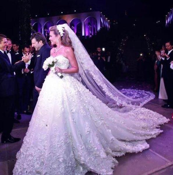 Discount 2018 Dubai A Line Wedding Dresses 3d Floral Sweetheart