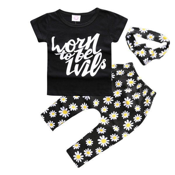 INS Baby Childrens Clothing Set Letters tshirts Pants Headbands Set Fashion Summer Girl Kids Tops Suits Boutique Clothes Outfits B11