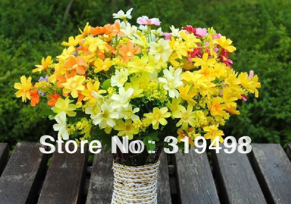 free shipping silk simulation artificial flower 24 heads lovely chrysanthemum daisy bush bouquet 35cm wedding & home decor
