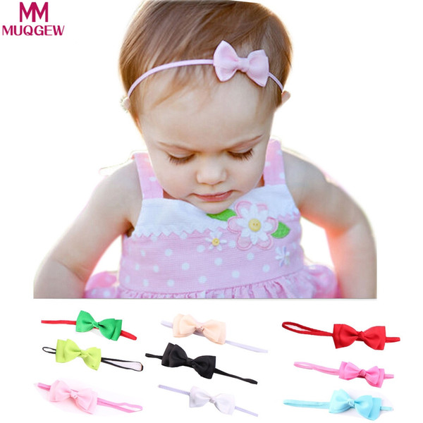 MUQGEW Baby Unisex Bowknot Headband Baby Hair Accessories Children's candy-colored bow ribbon dejorchicoco