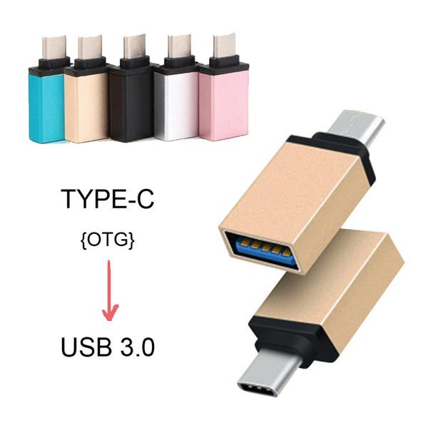 Nuevo Metal USB 3.1 Tipo C Adaptador OTG Macho a USB 3.0 A Adaptador Femenino Adaptador Función OTG para iPhone Samsung Macbook Google Chromebook