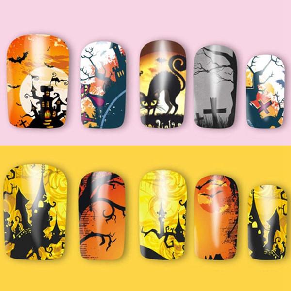 3pcs Halloween Pattern Nail Art Stickers Pumpkin Skull Ghost 3d Mixed Decals Manicure Nail Art Decoration DIY