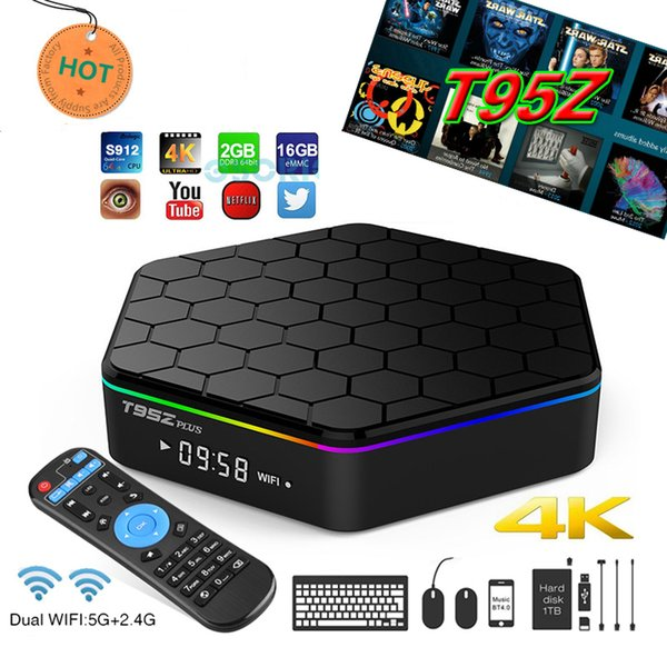 Best T95Z Plus TV Box Android 7.1 Amlogic S912 Octa core TV Box 2GB 16GB 5G Wifi Bluetooth Gigabit T95 media player