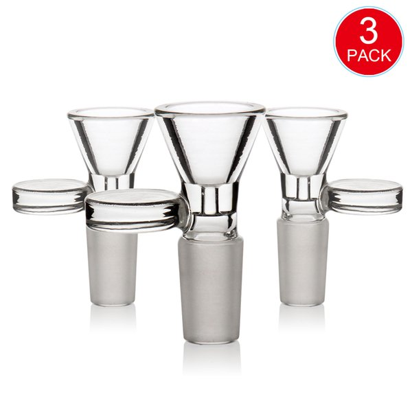 14mm 18mm bong Bowl bong accessories Replace glass bowl percolator smoking bong ashcather Thick Pyrex Glass Bowls Water pipe 3 pack