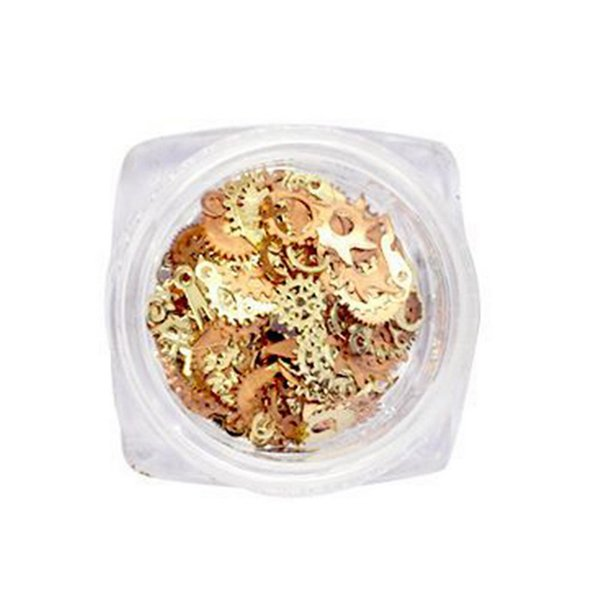 1box Gold Nail Patch Hybrid Accessories DIY Time Gear Team Mental Nail Drill Japan Punk Machinery Decoration Manicure Tools