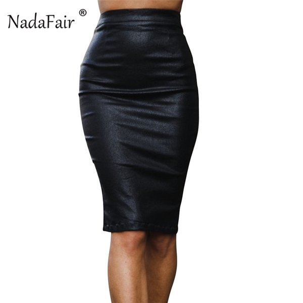 nadafair faux leather midi elegant skirt women plain color pu pencil skirt office tight zipper split bodycon skirts female, Black