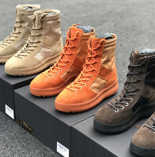 Kanye West Season 3 MILITARY Army Boots Desert Boots Men'S Hight Top Sneakers Fear Of God Military Trainers Mens Ankle Boots Shoes Chukka Boots Ladies