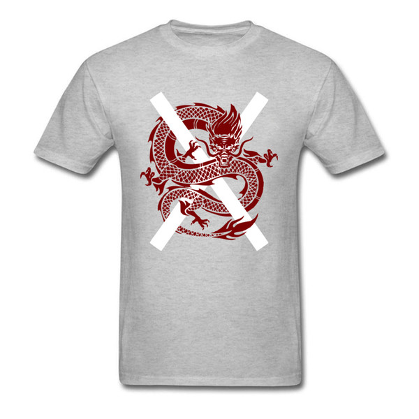 2018 Summer Japan Dragon Print Men Grey T Shirt Cool Cotton Fabric Plus Size Top T Shirts Team Custom Anime Tee