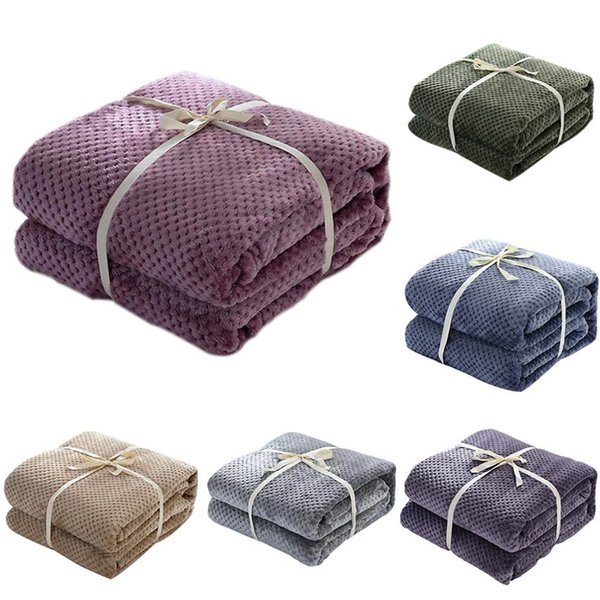 Honey Comb Coral Fleece Blanket Plain Dyed Washable Summer Throw Soft Warm Nap Sofa Cover Bedspread Adult Bed Plaid Blankets