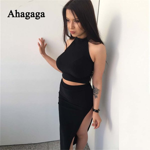 Ahagaga 2018 Yaz Eşofman Kadın Setleri Suits Moda Katı Siyah Düzenli Kadınlar Kostüm 2-pieces (Tops + Etekler) Suit Set Kadın