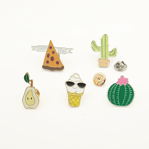 Cactus Potted Flowers Sydney Pear Small Size Cute Alloy Enamel Brooches Pins Mini Lapel Pins For Mens Women Clothes Suit Shirt Collar Decor