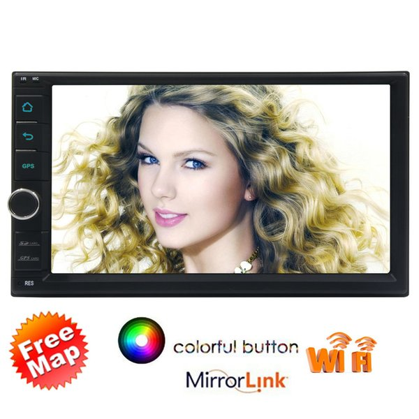 7'' Car Stereo System 1GB RAM 16G ROM Android6.0 Headunit Quad Core Double Din Touchscreen in Dash Radio Auto GPS Navigation Wifi