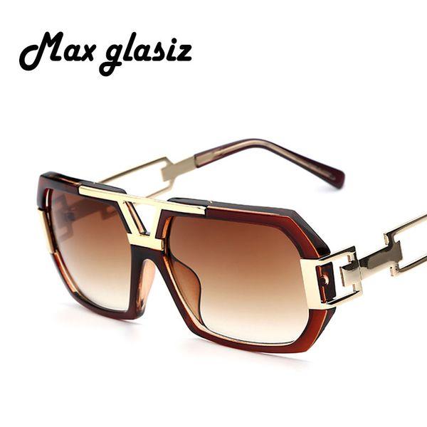 Новый 2017 Квадратные Мужские Модные Оттенки Солнцезащитные Очки Большая Рамка для мужских солнцезащитных очков бренд-дизайнер Градиентные очки