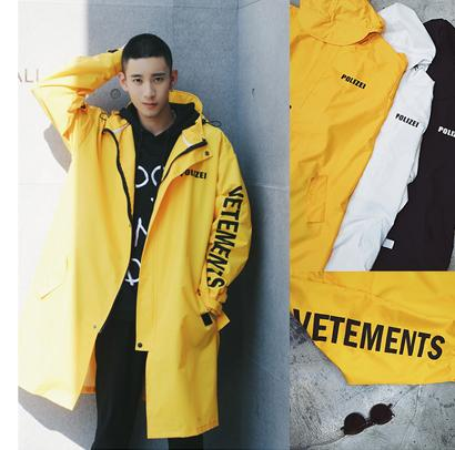 Fashion Mens Trench Coat Lengthened Water-Proof Trench Coats Vetements Polizei Print Rain Coat High Street Over Size Jacket Three Colors