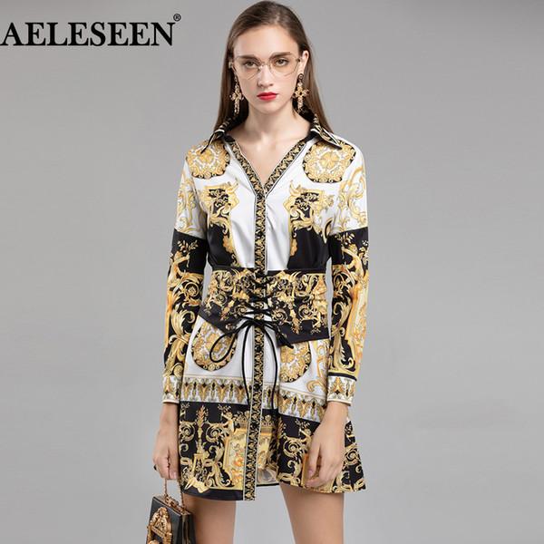 Aeleseen runway dress designers 2018 com mangas compridas moda outono decote em v do vintage impressão dress bandage luxo irregular