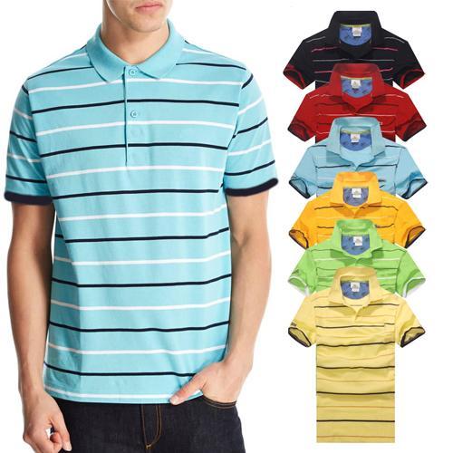 Nueva llegada camisa de polo de la raya de los hombres del cocodrilo manga corta del verano ocasional Camisas Polo camiseta para hombre envío gratis